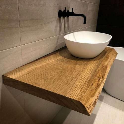 Дървен плот от масив с необработено чело WOOD за мивка 60 см