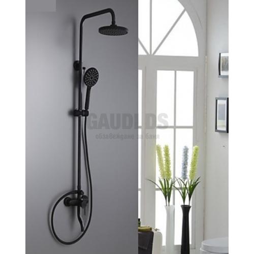 Blacky черна душ система с чучур, слушалка и пита 23см