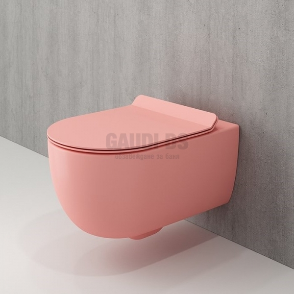 Bocchi Tondo Rimless конзолна WC, Slim капак, цвят сьомга мат 1417 032 0129+A0333 032