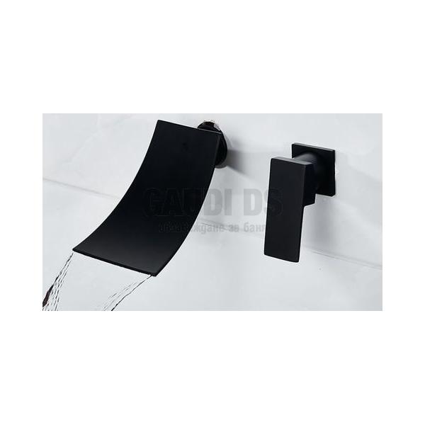 Вграден смесител за мивкa Blandini Waterfall Black, черен мат BL1830.170