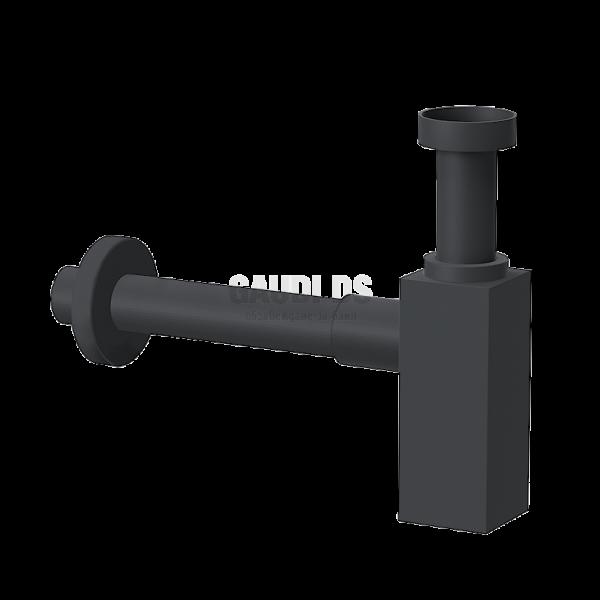 Ponsi декоративен квадратен сифон за мивка, черен мат BTSCAKVR41
