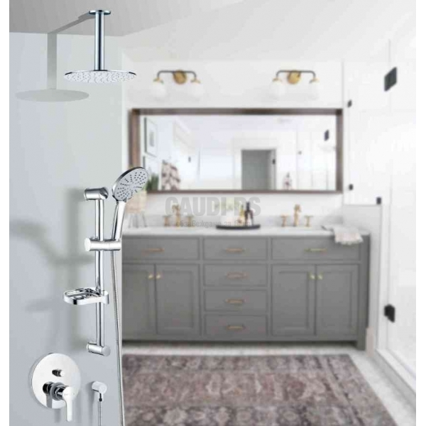 Miroalpy 2 Slim душ система за вграждане с тръбно окачване и таванно рамо miralpi 2.2slim