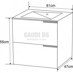 Долен шкаф PVC 61см, конзолен с дървесни декори 1
