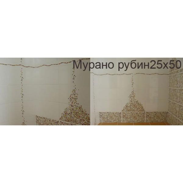 Мурано Рубин 25х50 с декор като мъниста