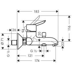 Hansgrohe Focus S смесител за вана/душ 2