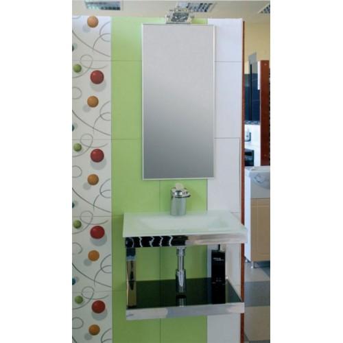 Стъклена мивка и огледало с осветление