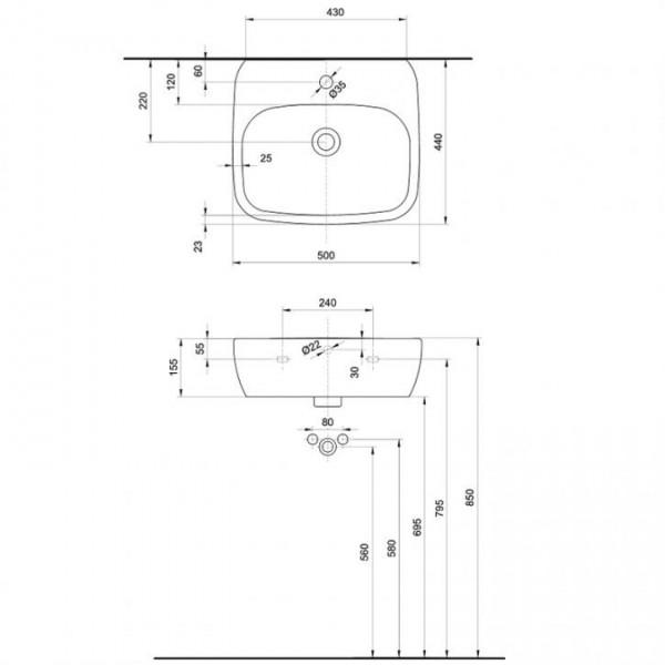 KOLO Style компактна 50х44см - с отвор за смесител L21950