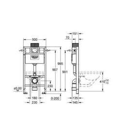 Ниска структура за вграждане Grohe Rapid SL за WC 100cm 2