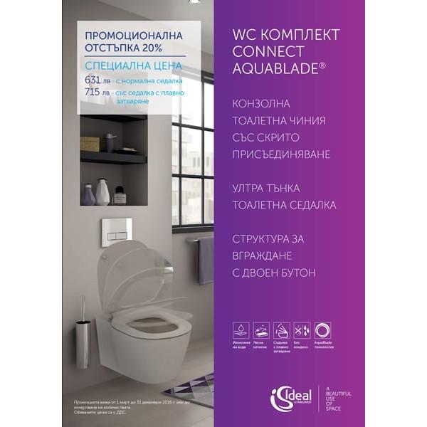 Промо WC комплект Ideal Standard Connect Aquablade
