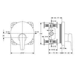 Ideal Standard Cerasprint вграден смесител за душ 2
