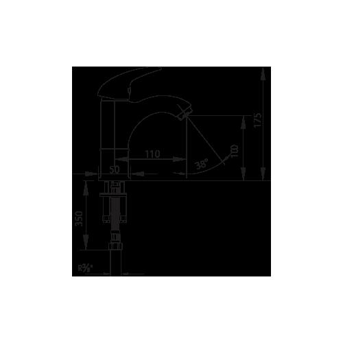 E.C.A. Mix P смесител за умивалник висок с подвижен душ 2