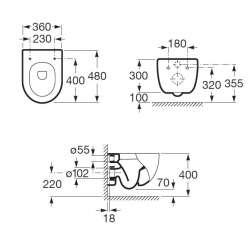 Окачена тоалетна чиния ROCA Meridian Compacto 48 см 2