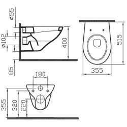 Конзолна тоалетна Vitra Arkitekt с нормален капак 2