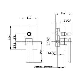 Fromac Mini Razor смесител за вграждане за вана/душ 2