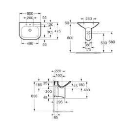 Умивалник ROCA Nexo 60х47см за конзола или полуконзола 2