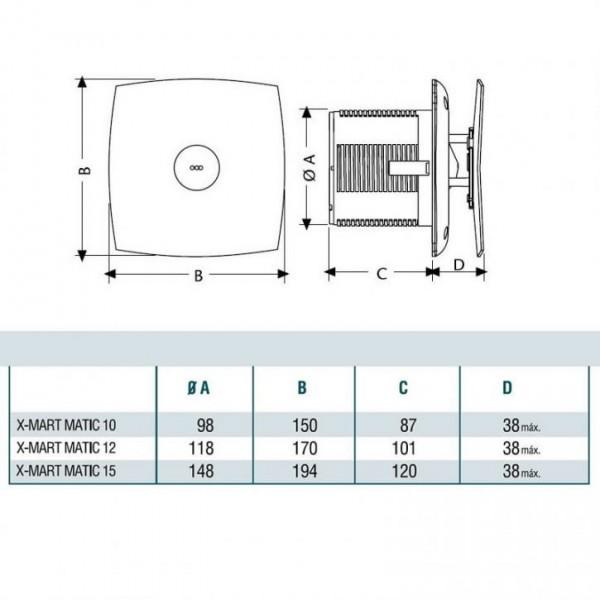 Вентилатор за баня Cata X-MART 12 Matic бял