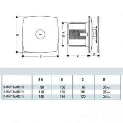 Cata X-MART 12 Matic инокс вентилатор за баня 2
