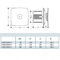 Cata X-MART 15 Matic бял вентилатор за баня 2