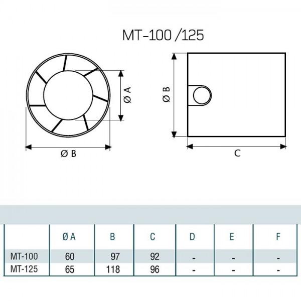 Канален вентилатор Cata MT 100