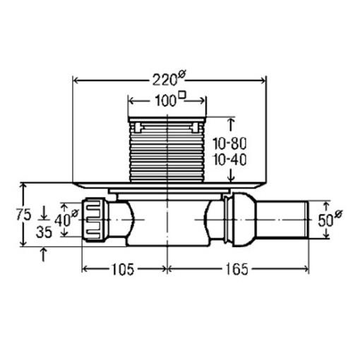 Рогов сифон за баня Viega Advantix със суха клапа (метална рамка)