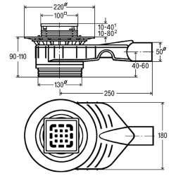 Рогов сифон за баня Viega Advantix Top (метална рамка) 669 201