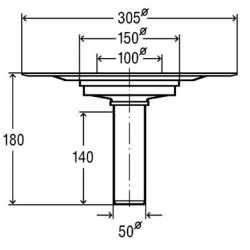 Прав сифон за тераса Viega Advantix 100x100 (пластмасова рамка) DN 50 2
