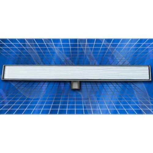 Стъклен линеен сифон Inox Style бял 785x80