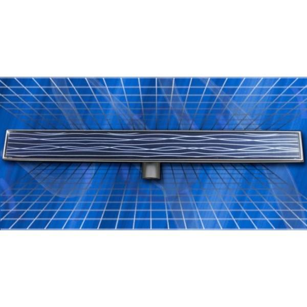 Стъклен линеен сифон Inox Style черен 1185x80