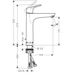 Hansgrohe Focus 190 смесител за мивка висок с изпразнител 2