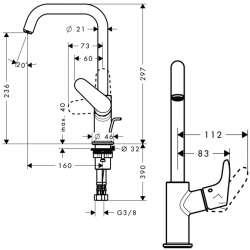 Hansgrohe Focus 240 смесител за мивка висок с изпразнител 2