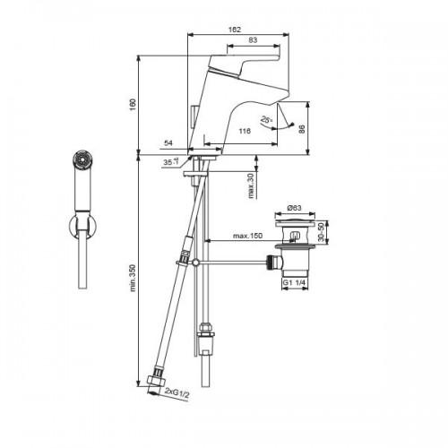 Ideal Standard Active за умивалник с хигиеничен душ 2