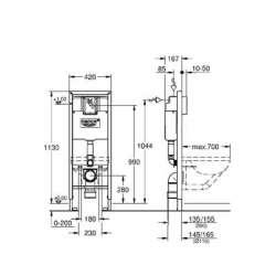Grohe Rapid SL структура за вграждане за WC за инвалиди 2