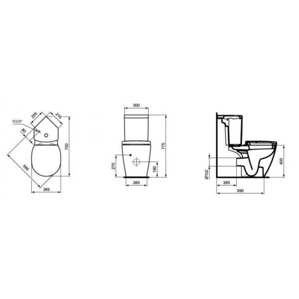 Ъглов Ideal Standard Connect Space къса проекция 60см