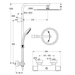 Душ система Idealrain Luxe със стенен термостатен смесител 2