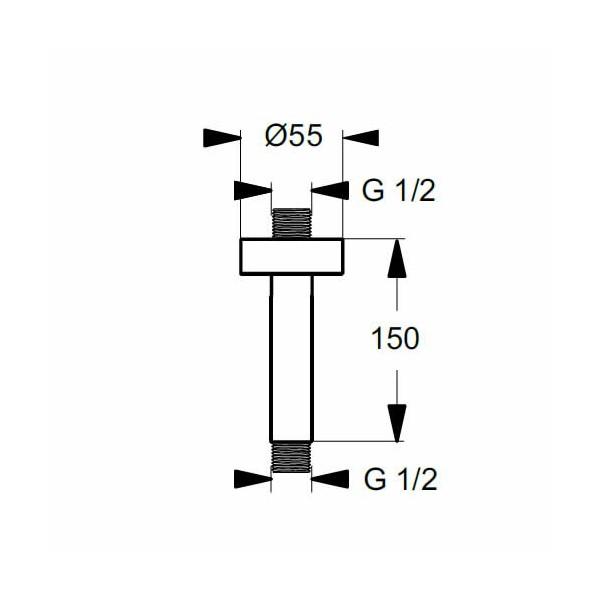Рамо за душ от тавана IdealRain L1 150 mm B9446AA