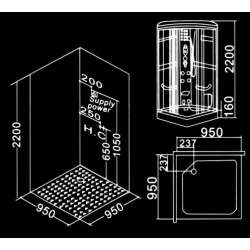 Парна душ кабина 95х95 MY-2265 1