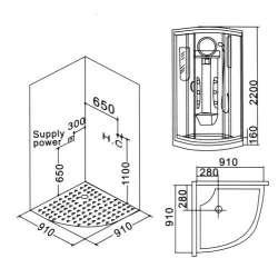 Парна душ кабина 91x91 MY-2220A 2